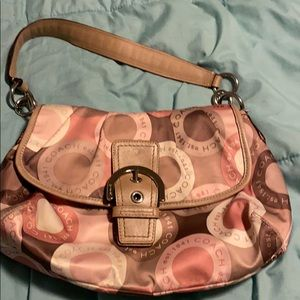 Coach purse pink tan